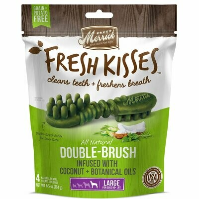 Merrick fresh kisses double brush infused with Coconut and botanic oils large dogs 50+ pounds for count 6.5 ounces (7/19)