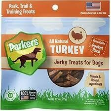 Parker's all-natural turkey jerky treats for dogs resealable pocket pack maiden source in the USA hundred percent human-grade jerky 1.25 ounces (5/19)