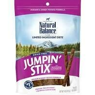 **BOGO** Natural balance treats jumping sticks help support healthy hips and joints venison and sweet potato formula with glucosamine and chondroitin and grain-free for adult dogs 4 ounces (11/19)