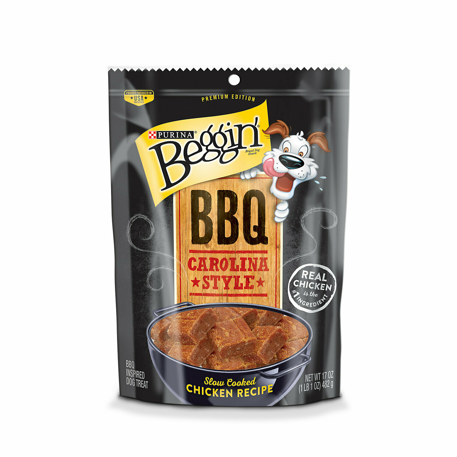 Purina bag and barbecue Carolina style real chicken is the first ingredient slow-cooked chicken recipe dog treat 1 lb. 1 oz. (1/20)