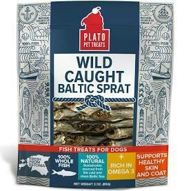 PLATO PET TREATS WILD CAUGHT BALTIC SPRAT FISH TREATS FOR DOGS **LOOKS LIKE FREEZE-DRIED LITTLE FISHYS** 3 OZ (7/19)