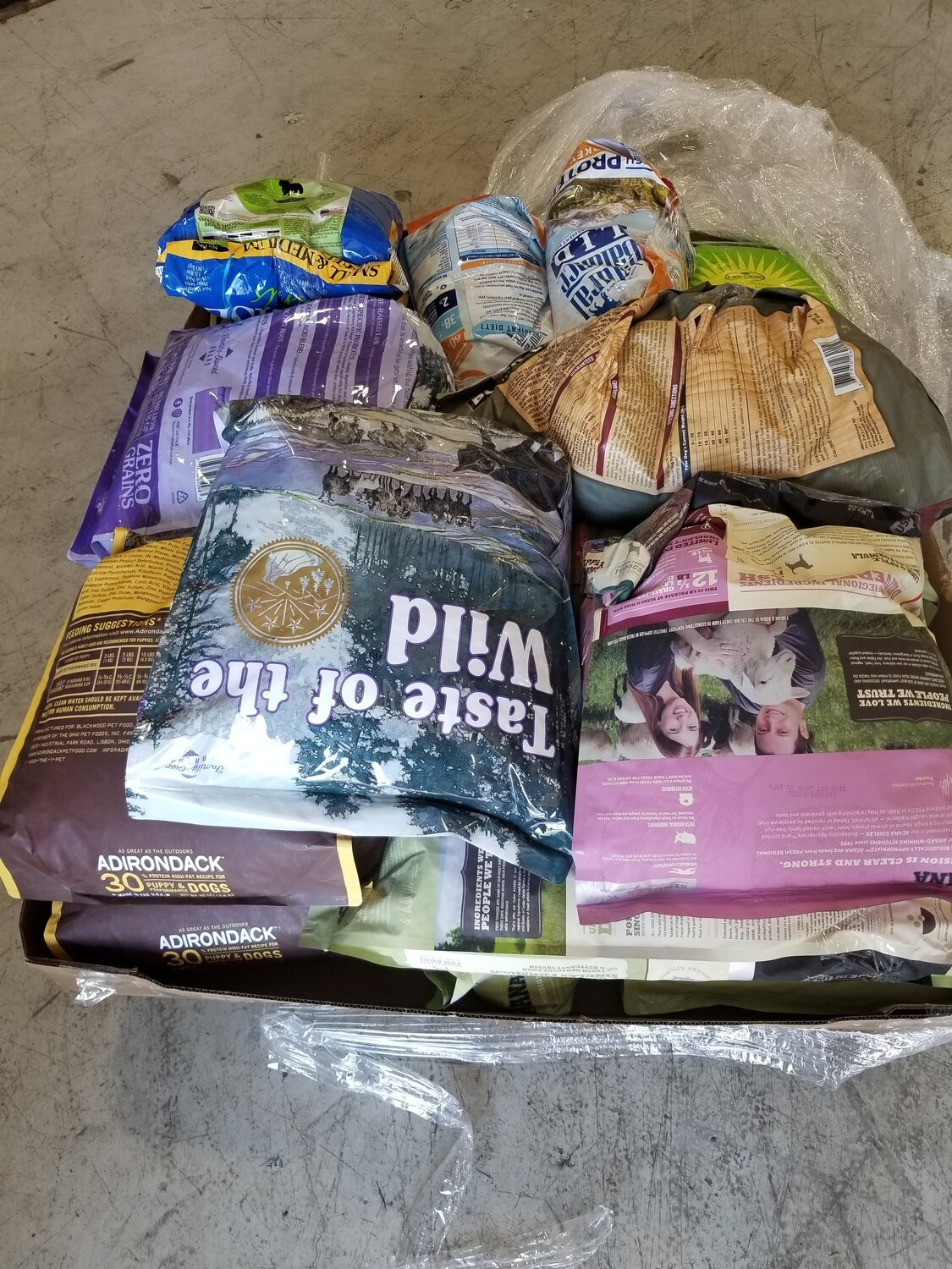 """450 lbs. """"Open/Torn Bags"""" Variety Premium Quality Brand Name Dry Dog Foods - 30 Cents Per Pound Based On Weighed Weight LESS Pallet"""