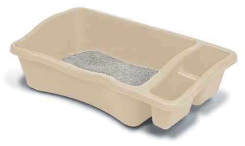 Petmate Giant Litter Pan with Side Compartments, Bleached Linen 34.8 X 19.5 X 9.8 inches (B)