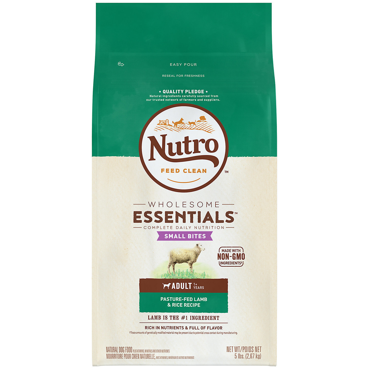 Nutro Natural Choice Small Bites Limited Ingredient Diet Lamb & Rice Adult Dog Food 5 pounds (11/18) (A.N4)