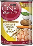 Purina ONE Smartblend Wet Dog Food, Classic, Ground Chicken & Brown Rice Entree 13 oz 12 count (3/18) (A.O6)