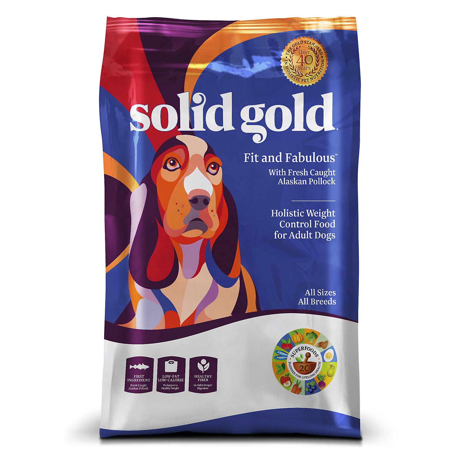 Solid Gold Fit & Fabulous Alaskan Pollock Weight Control Adult Dog Food, 4 lbs. (11/18) (AN.6)