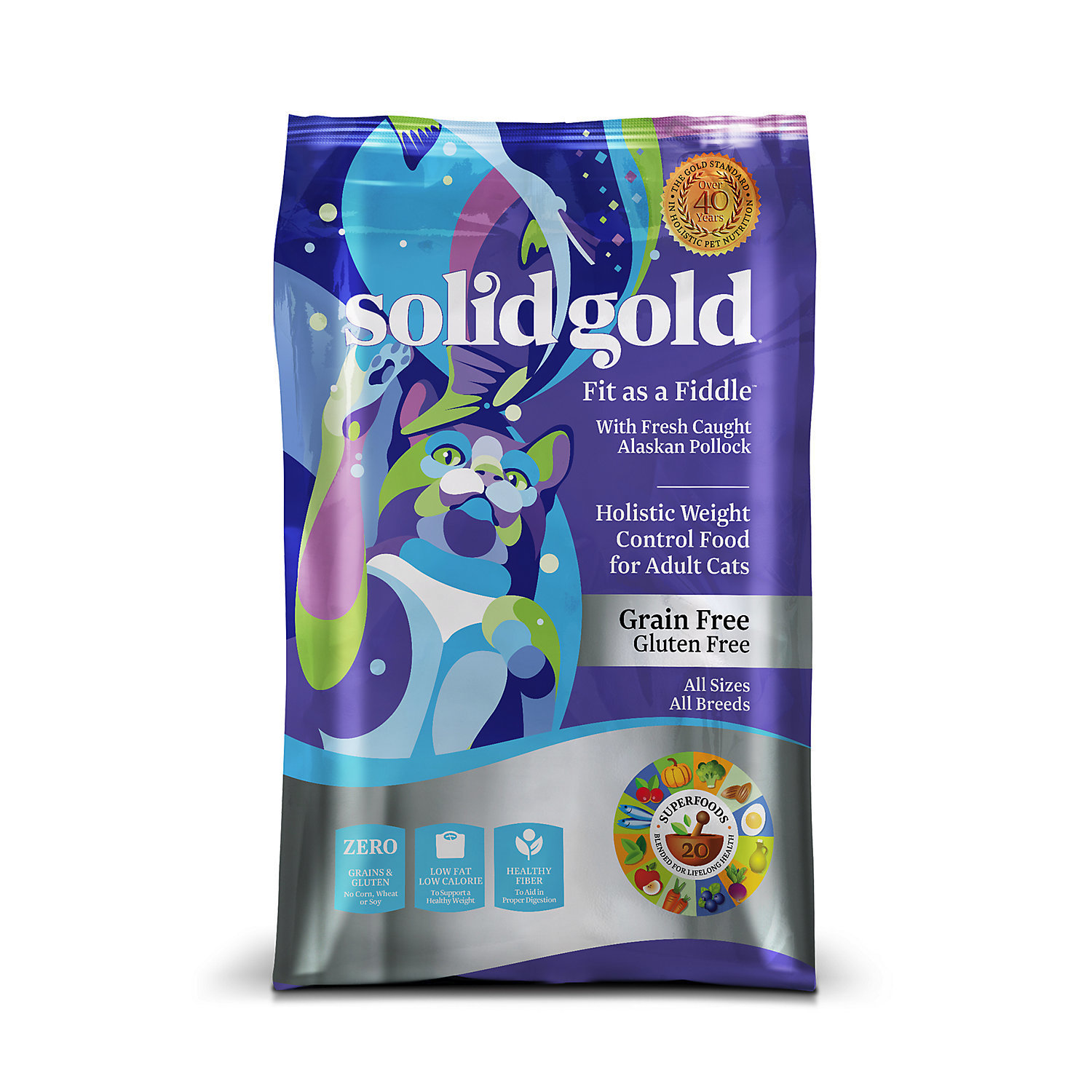 Solid Gold Fit As A Fiddle Alaskan Pollock Weight Control Adult Cat Food, 12 lbs (10/18) (A.M2)