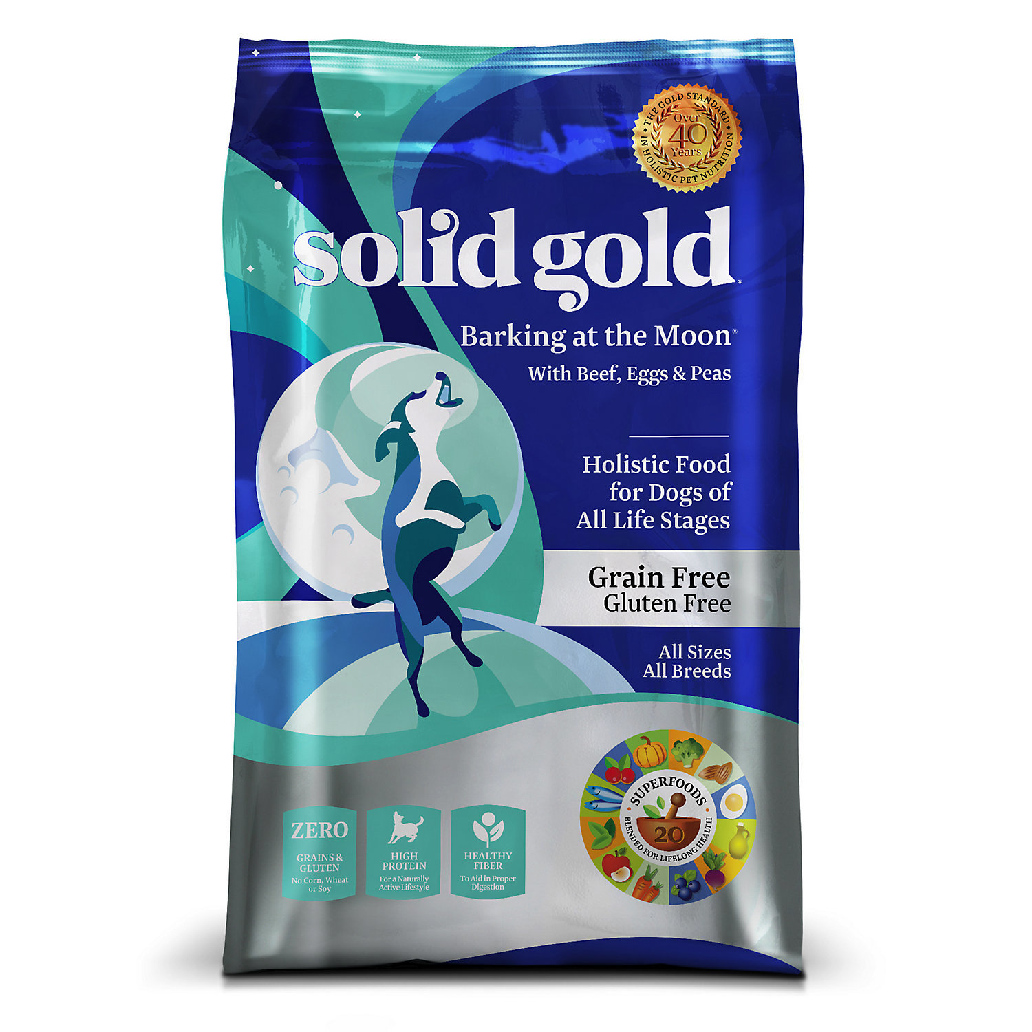 Solid Gold Barking at the Moon Beef, Egg & Peas Grain Free Adult Dog Food, 24 lb (10/18) (A.F3)