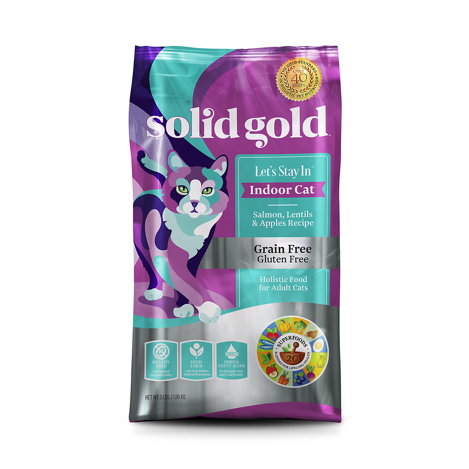 Solid Gold Let's Stay In Indoor Cat Salmon, Lentil & Apple Recipe for Adult Cats 6 lbs (11/18) (A.O1)