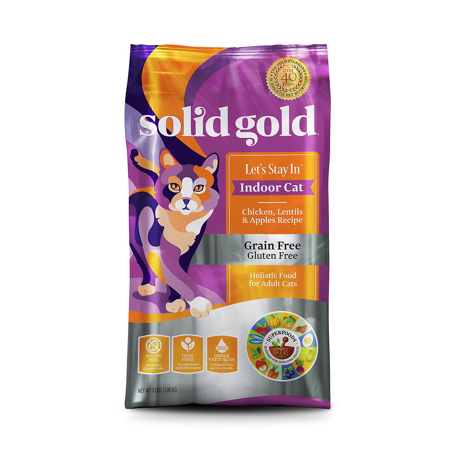 Solid Gold Let's Stay In Indoor Cat Chicken, Lentil & Apple Recipe for Adult Cat 3 lbs. (11/18) (A.J3)