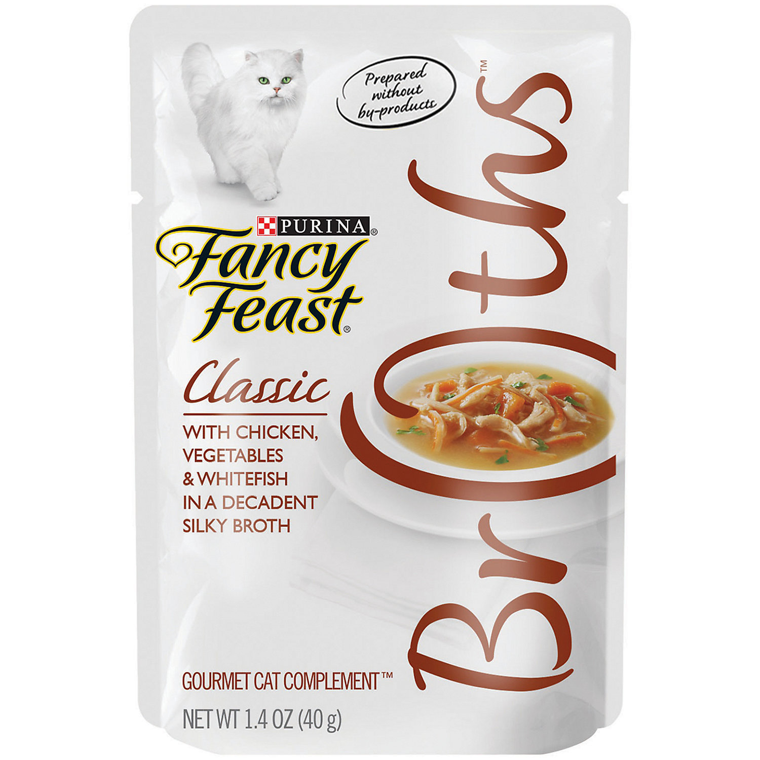 Fancy Feast Broths Classic Chicken, Vegetables & Whitefish Cat Food Complement,1.4 oz pouches 16 count