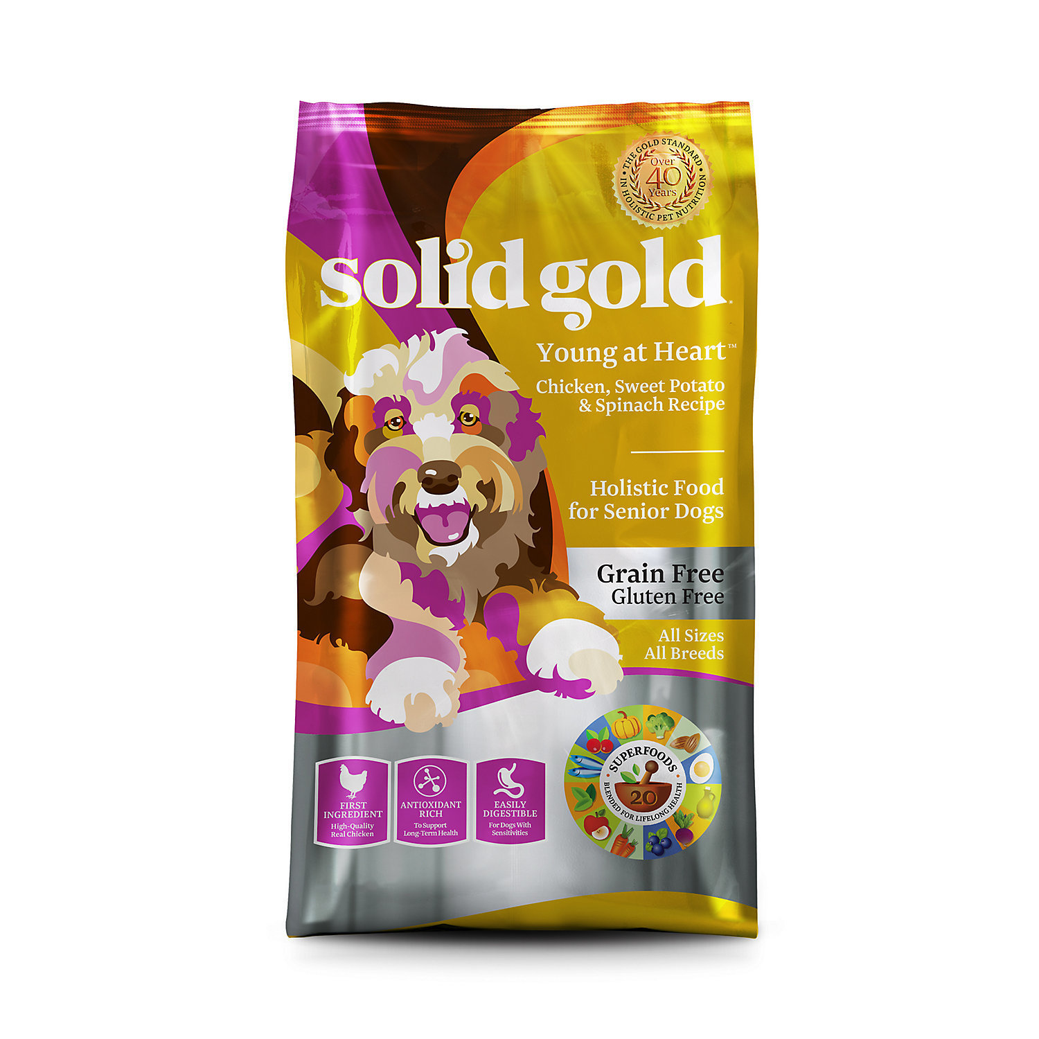 Solid Gold Young At Heart Chicken, Sweet Potato & Spinach Recipe Grain Free Dry Dog Food 4 lbs. (12/18) (A.P4)
