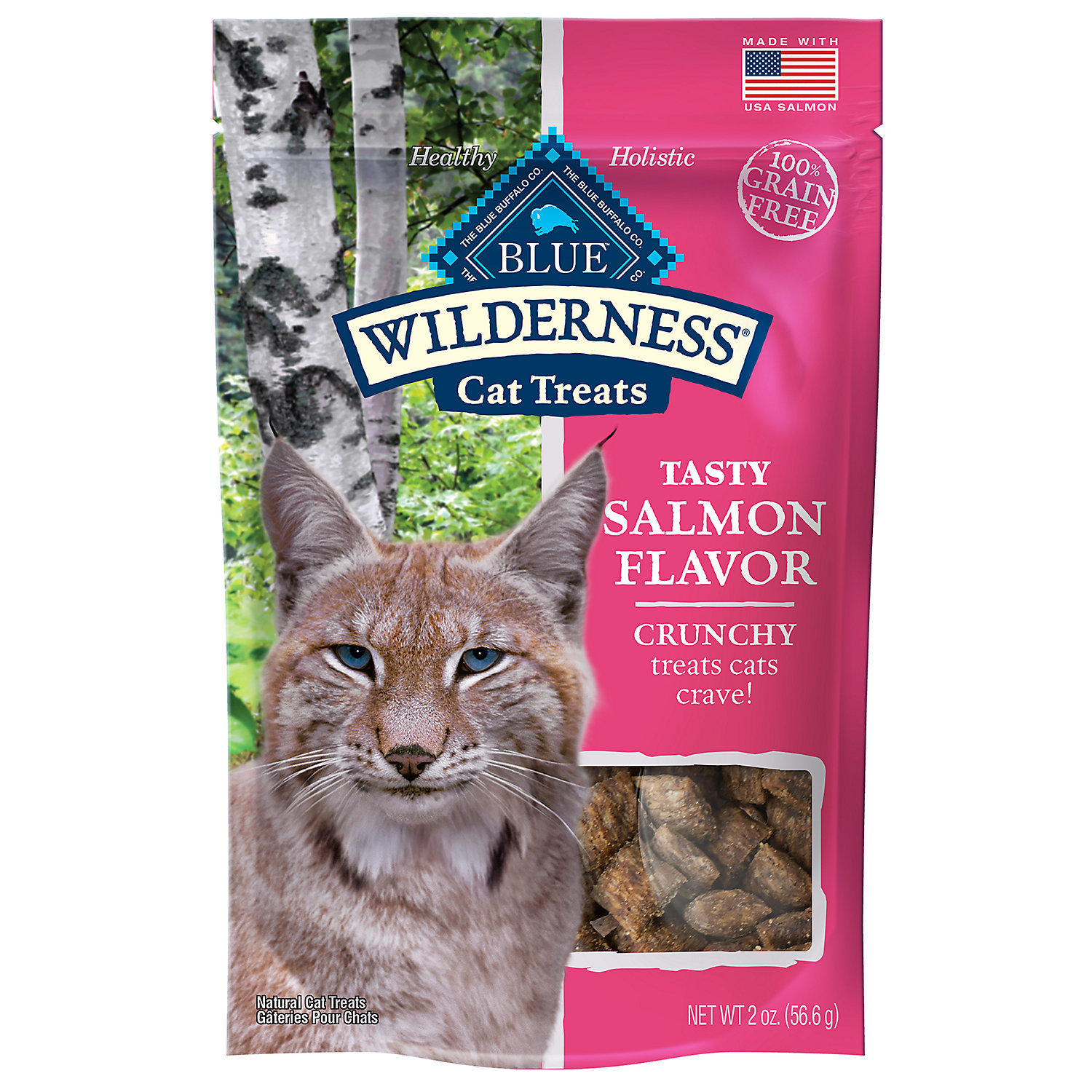 Blue Buffalo Wilderness Crunchy Salmon Flavor Cat Treats, 2 oz (12/18) (T.G3)