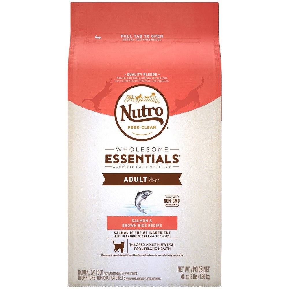 Nutro Wholesome Essentials Salmon & Brown Rice Dry Cat Food - 3lb (6/19) (A.N7)