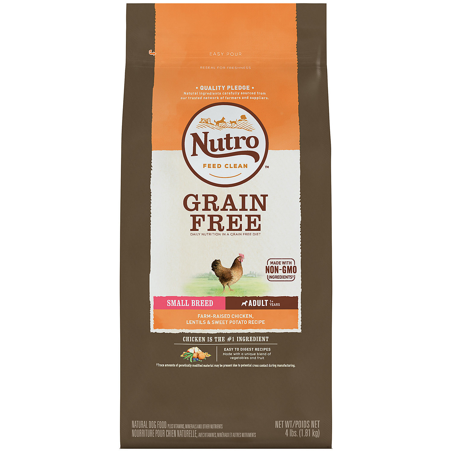Nutro Grain Free Small Breed Chicken & Lentils Recipe Dry Dog Food 4 Pounds (1/19) (A.M2)