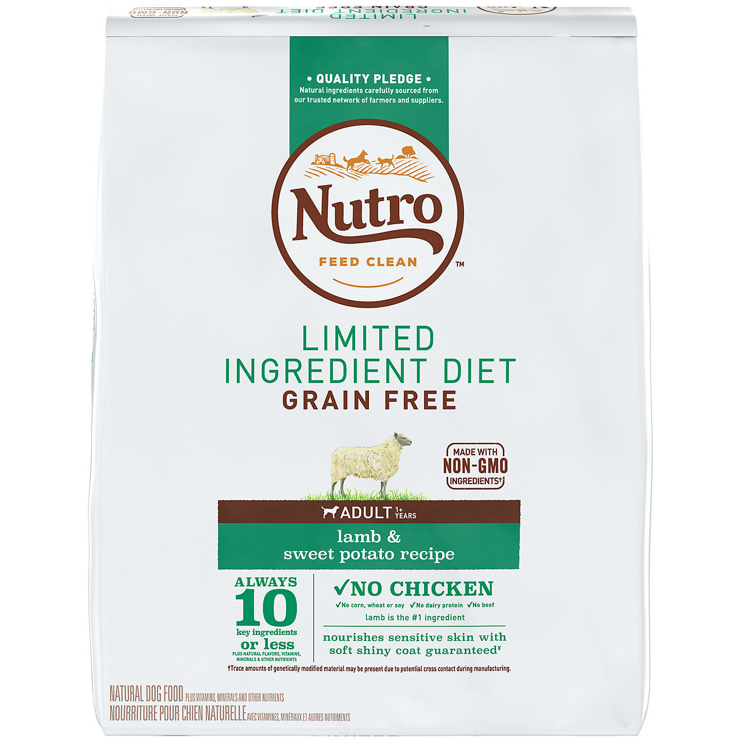 Nutro Limited Ingredient Diet Adult Lamb & Sweet Potato Dog Food Recipe, 4 Lbs. (1/19) (A.I1)