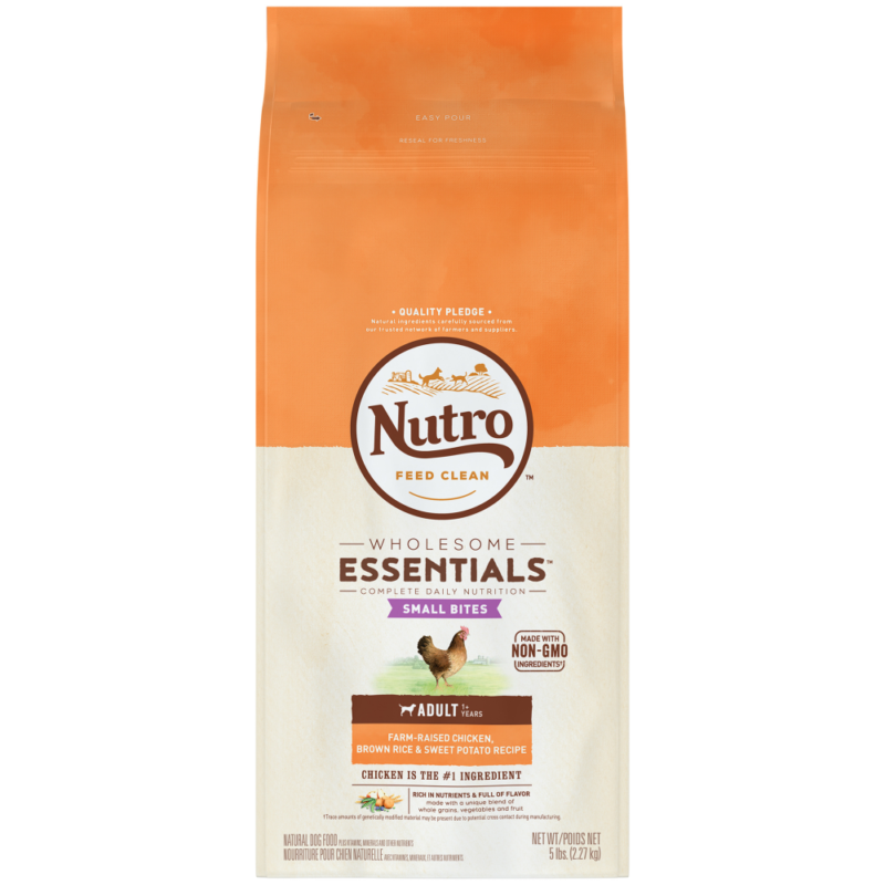 Nutro Wholesome Essentials Small Bites Chicken & Rice Dry Dog Food - 5lb (1/19) (A.M1)
