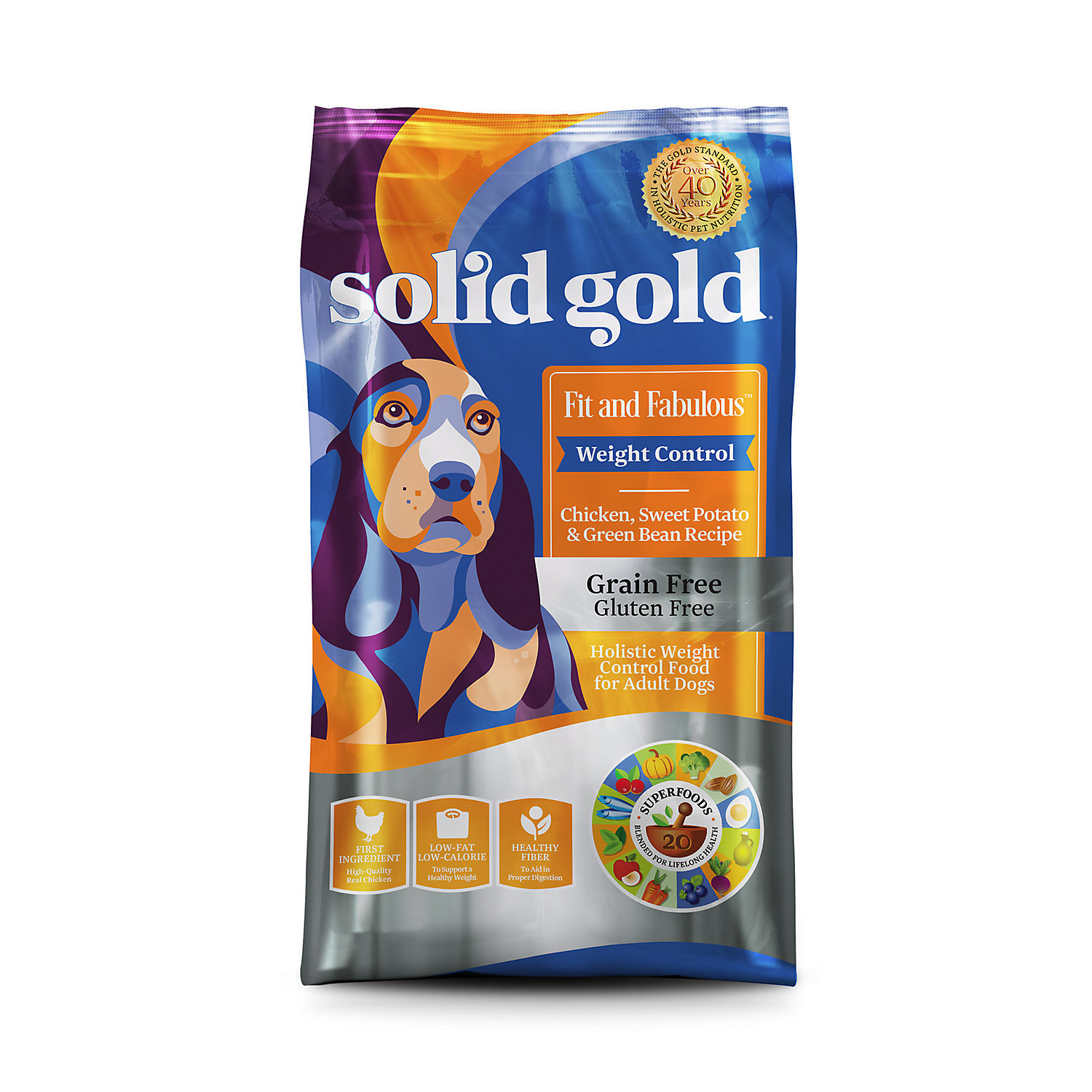 Solid Gold Fit & Fabulous Chicken, Sweet Potato & Green Bean Weight Control 4 lb. (1/18) (A.J1)