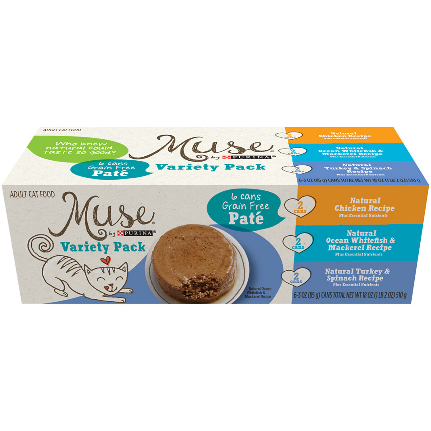 Muse by Purina Natural Variety Pack in Gravy Adult Pate GRAIN FREE Cat Food, 3 oz., Case of 6 (1/19) (A.K5)