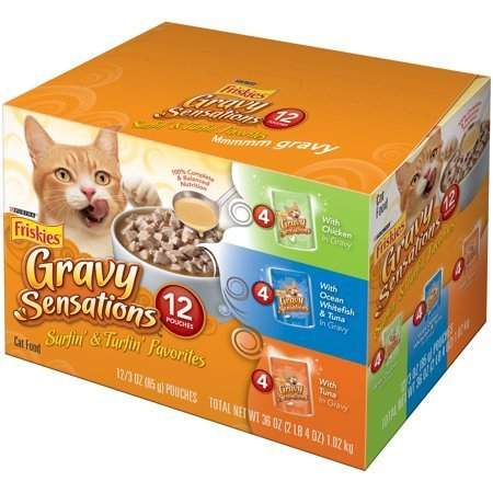 Friskies Gravy Sensations Variety Pack Cat Food Pouches (3 oz. Case of 12) (6/18) (A.K5)