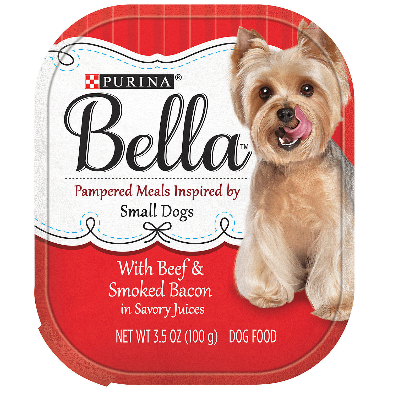 Purina Bella With Beef & Smoked Bacon in Savory Juices Adult Wet Dog Food, 12 x 3.5 oz (11/19) (A.H1)