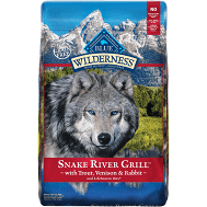 """Blue Wilderness Snake River Grill """"Grain-Free""""  Trout, Venison & Rabbit Dry Dog Food 22 lbs."""