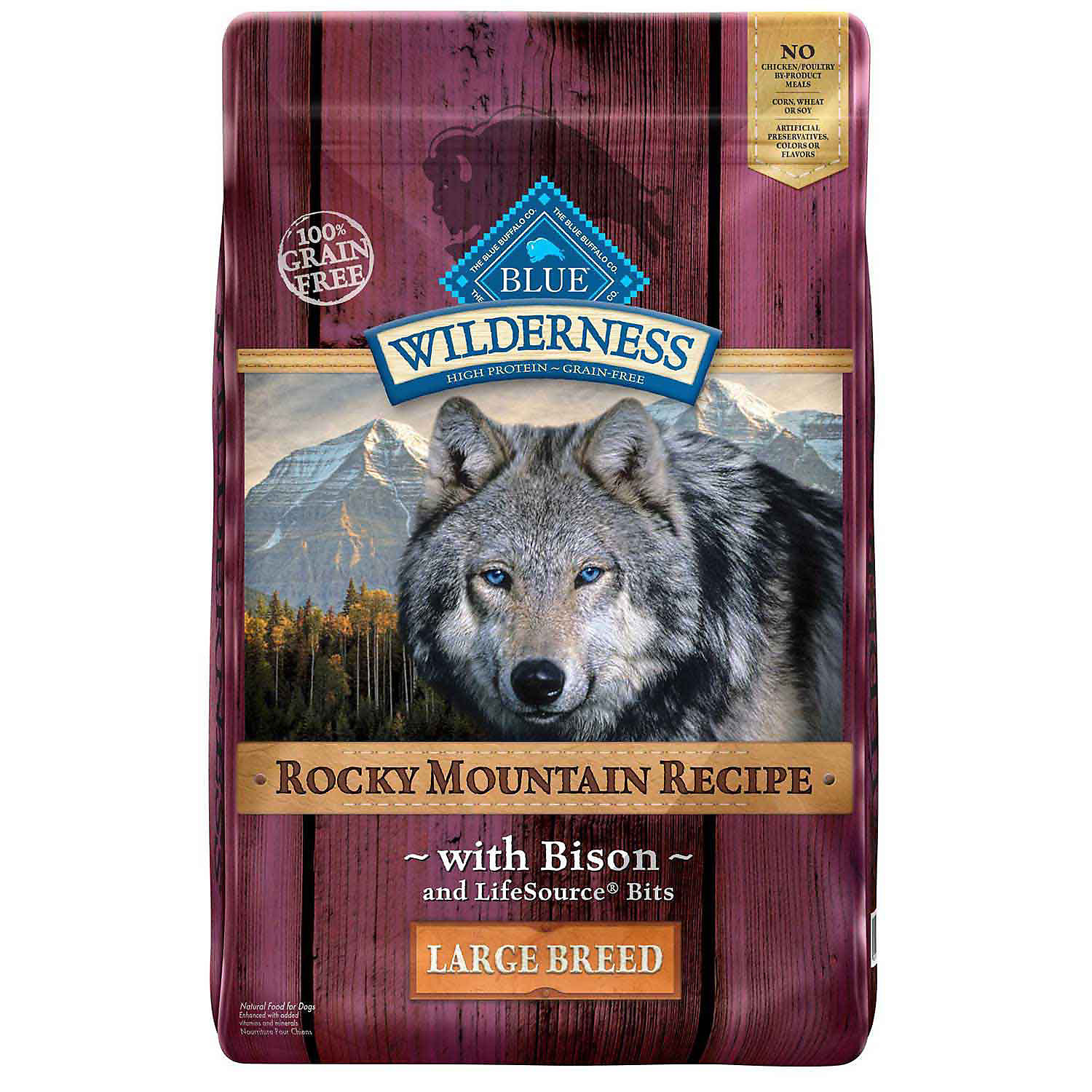 Blue Buffalo Wilderness Rocky Mountain Recipe with Bison Large Breed Adult Dog Food 22 lbs.