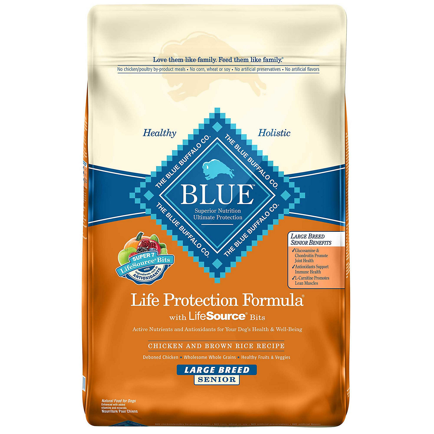 Blue Buffalo Chicken & Brown Rice Large Breed Senior Dry Dog Food (30 lbs.)