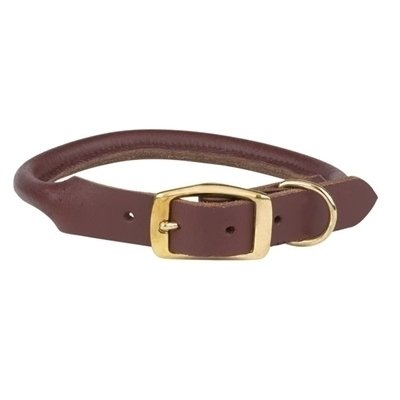 "Rolled Leather Collar 1"" Adjust 22-26"" (RPAL141/AM5)"