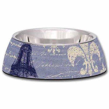 Loving Pets Blue Linen Milano Bowl for Dogs, Medium (B.D11/PR/AM11/BOWL)