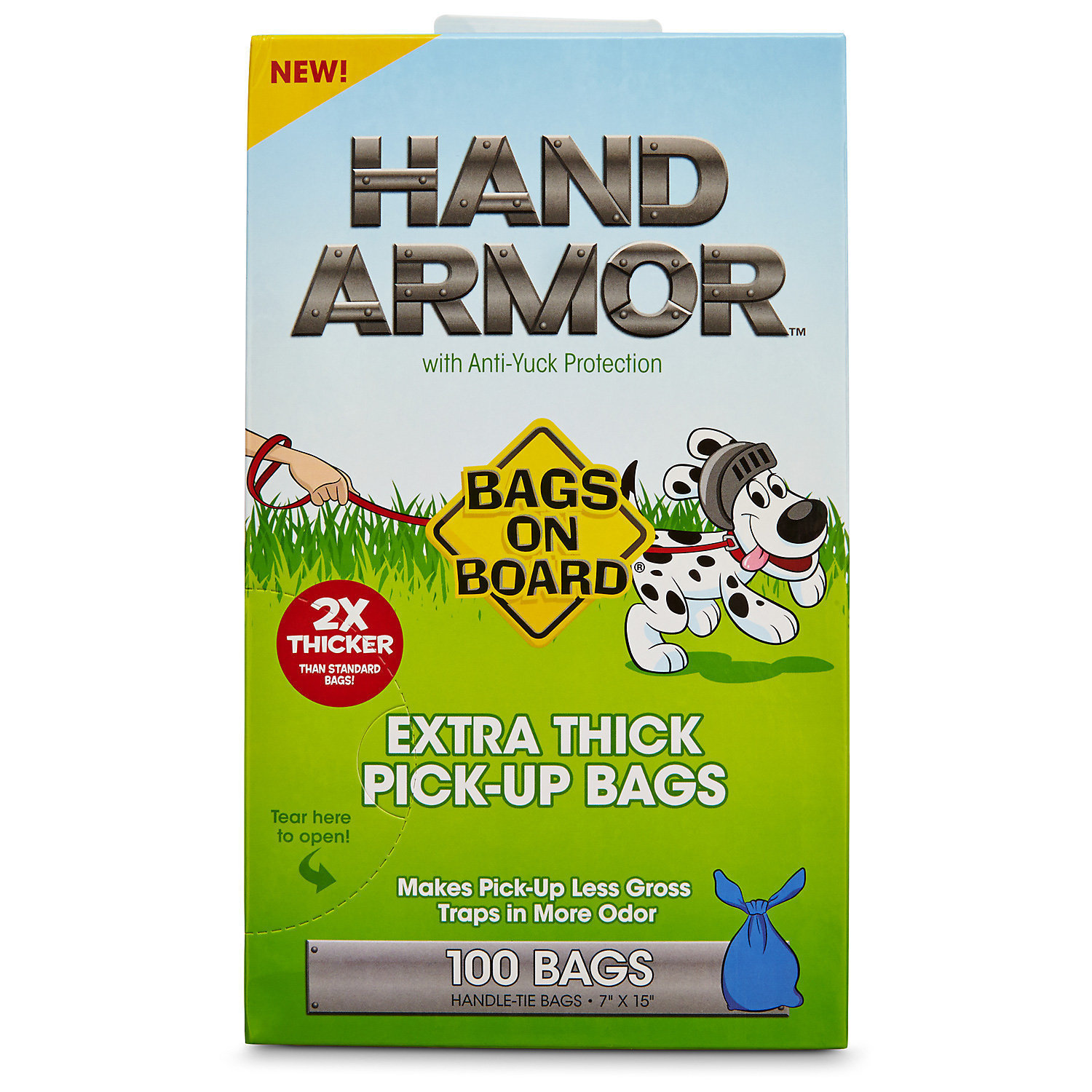 Bags on Board Hand Armor Extra Thick Dog Waste Pick-Up Bags, 100 count (B.B5/AM100)