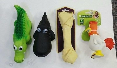 Set Of 4 Assorted Squeaky Dog Toys (RPAL-B14/TOY)