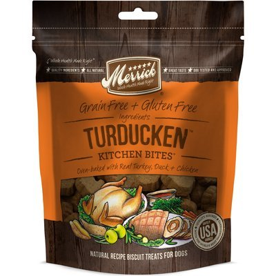 Merrick Turducken Kitchen Bites Dog Treats, 9 oz. (2/19) (T.E1)