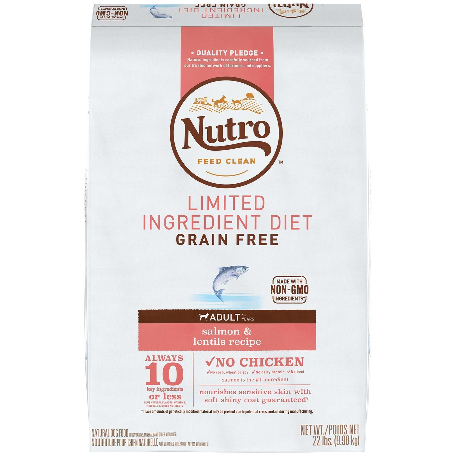 Nutro Limited Ingredient Diet Adult Salmon & Lentils Dog Food Recipe, 22 lbs. (2/19) (A.P1)