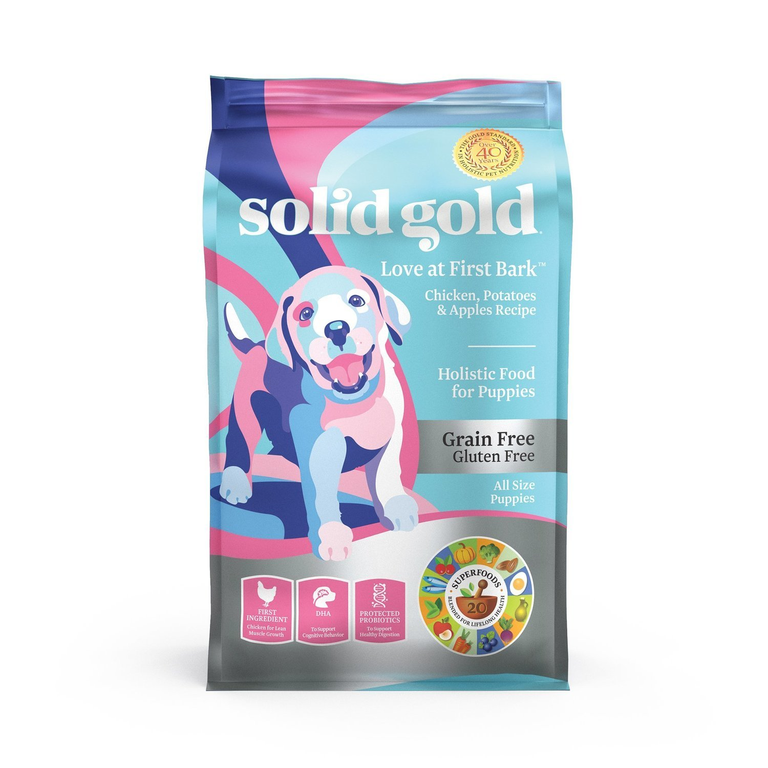 Solid Gold Love At First Bark Chicken, Sweet Potato & Apple Grain Free Dry Puppy 4 lbs (2/19) (A.J3)