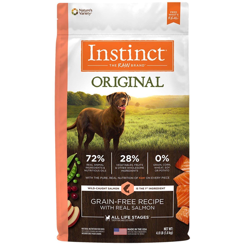 Nature's Variety Instinct Original Grain Free Salmon Dry Dog Food, 4 lbs. (2/20) (A.L2)