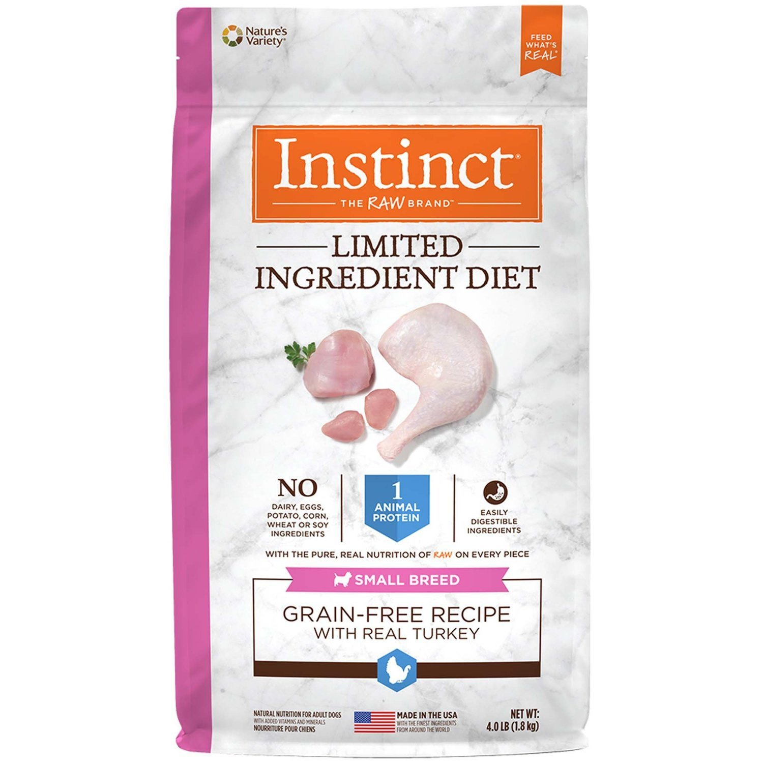 Nature's Variety Instinct Limited Ingredient Diet Small Breed Grain Free Turkey 4 lbs (2/19) (A.P1)