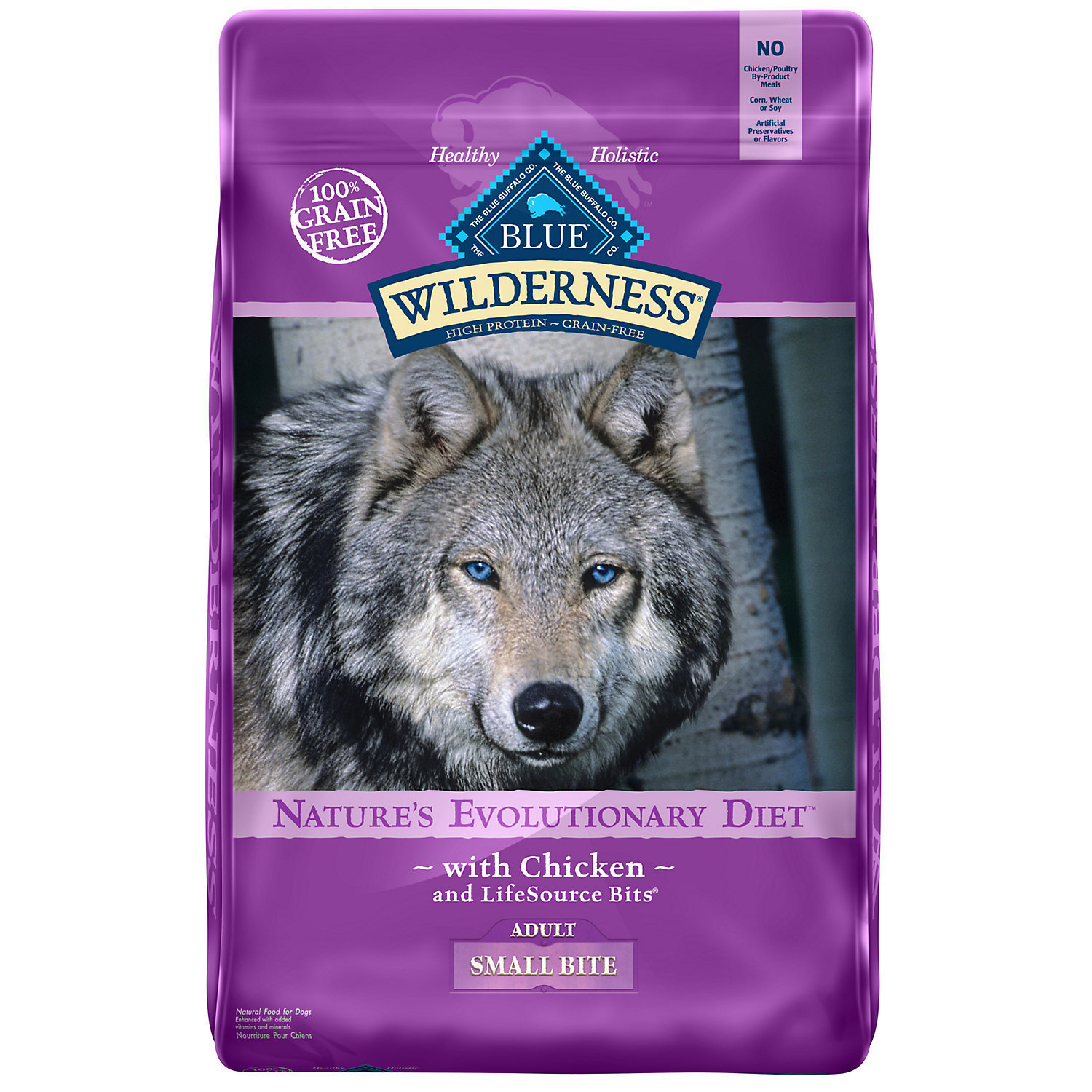 Blue Buffalo Wilderness Grain Free Chicken Adult Small Bites Dry Dog Food, 11 lb (3/20)