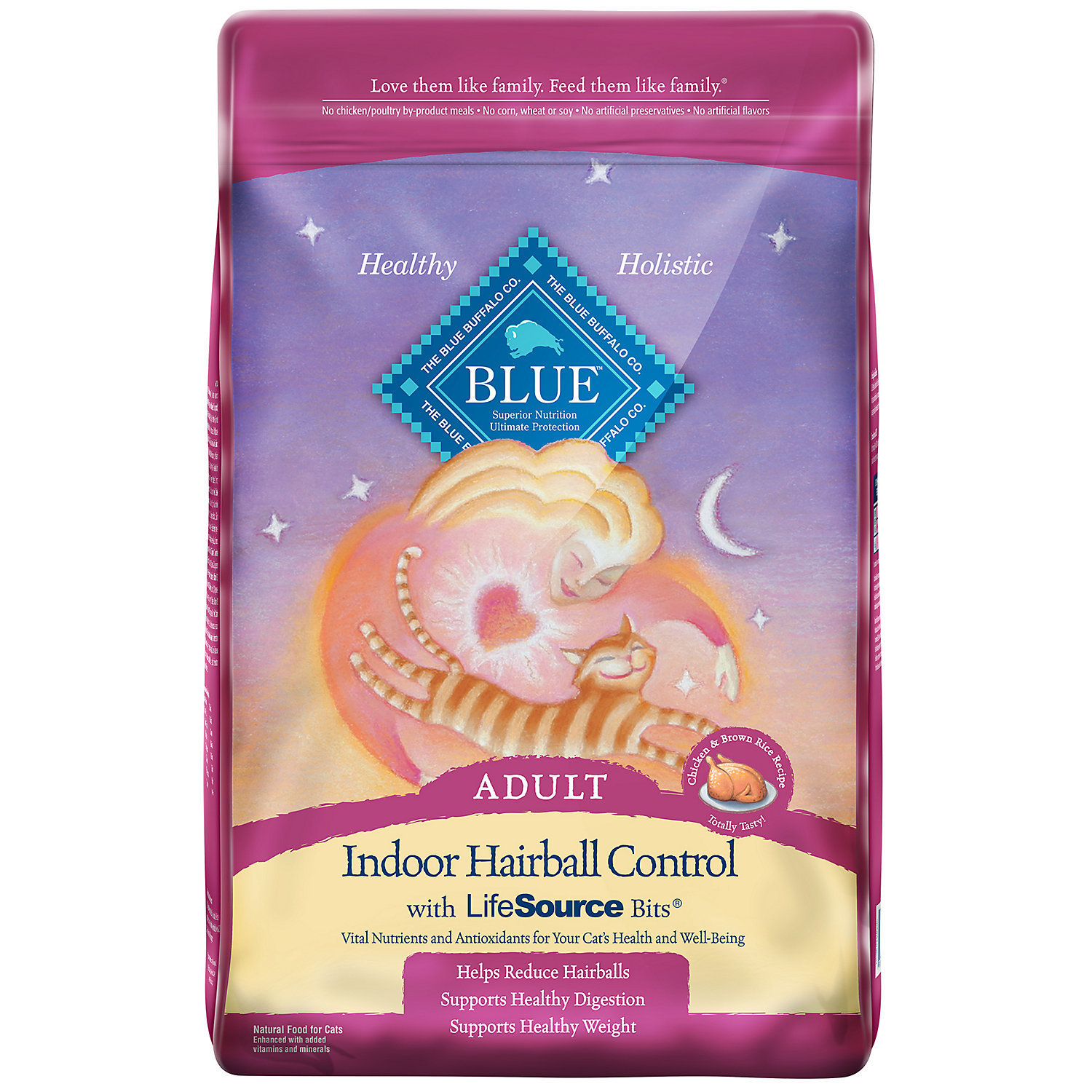 Blue Buffalo Indoor Hairball Control Chicken & Brown Rice Adult Cat Food, 15 lbs