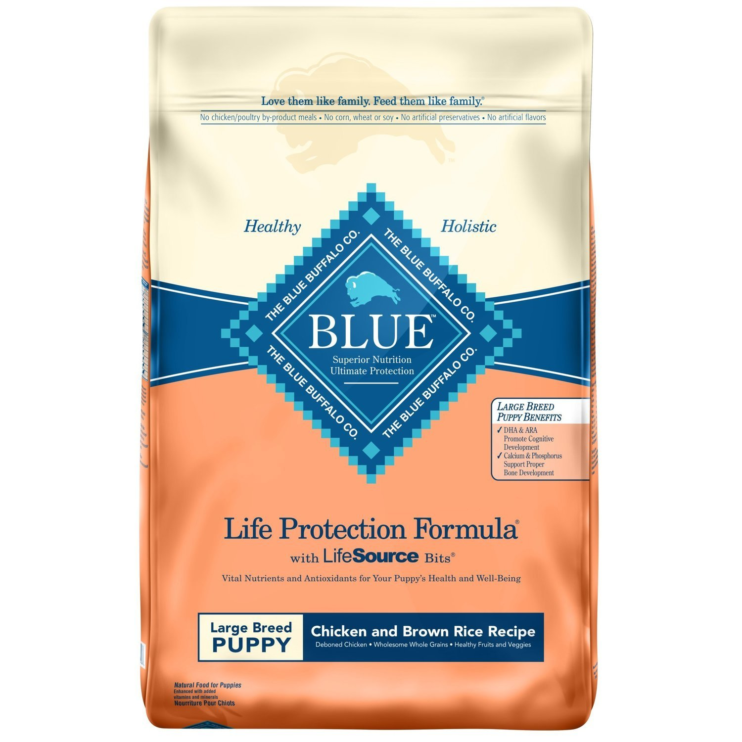 Blue Buffalo Large Breed Chicken & Brown Rice Puppy Food 15 lbs.