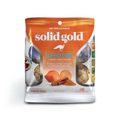 **CLOSE OUT - SUPER SALE** 10 FUR $1.00 Solid Gold Grain Free Turkey, Sweet Potato & Cinnamon Natural Dog treats 2 oz (2/19) **Buy 1 Get 5, Buy 2 Get 10, Buy 3 Get 15 etc. etc.**