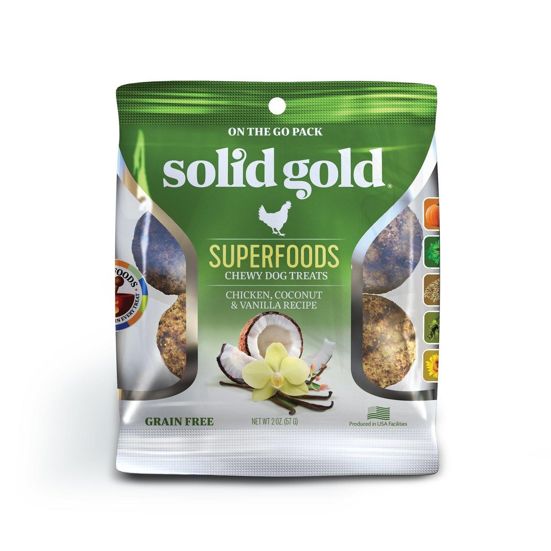 Solid Gold Grain Free Chicken, Coconut & Vanilla Natural Chewy Dog treats 2 oz.(2/19) (T.C14)