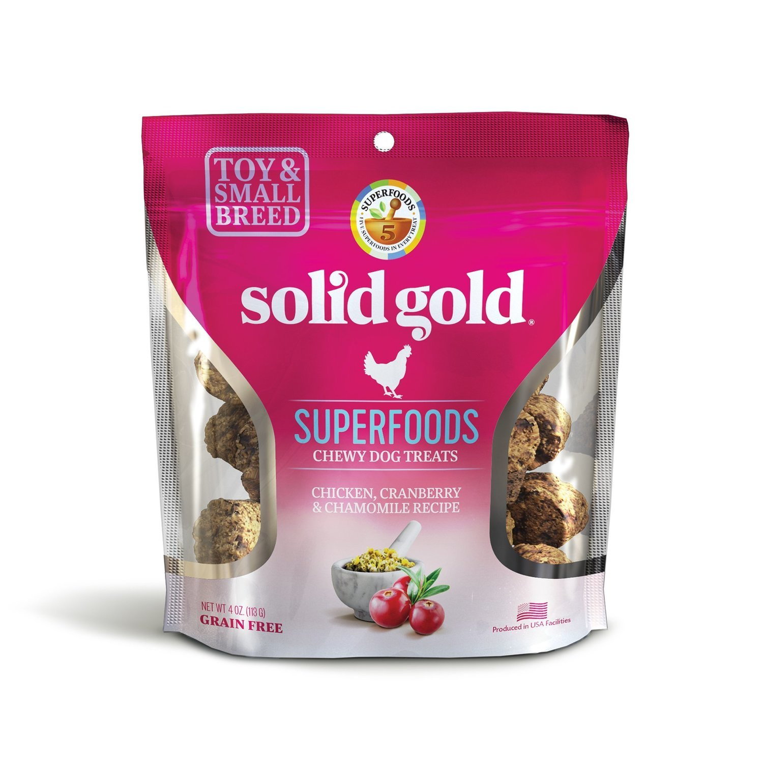 5 FUR $1.00 Solid Gold Grain Free Chicken, Cranberry & Chamomile Small & Toy Breed Dog Treats 4 oz. (2/19) (A.H3)