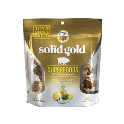 **CLOSE OUT - SUPER SALE** 10  FUR $1.00 Solid Gold Grain Free Pork, Pineapple & Thyme Small & Toy Breed Dog Treats 4 oz. (2/19)  **Buy 1 Get 5, Buy 2 Get 10, Buy 3 Get 15 etc. etc.**
