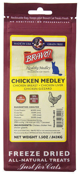 Bravo! Healthy Medley Grain-Free Chicken Freeze Dried Cat Treats, 1.5 Oz (3/19) (T.C4)