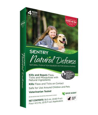 Sentry 4 Count Natural Defense Flea and Tick Squeeze-On for Dogs Over 40-Pound *May Ship Out of Package* (O.F2)