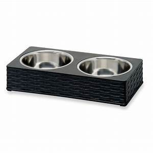 Loving Pets Wicker Look Double Diner Bowl (BLACK MEDIUM/PR/BOWL)