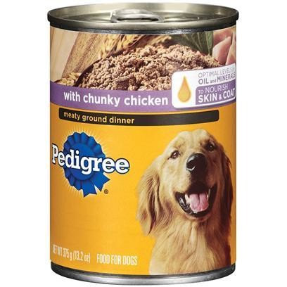 FINAL CLOSEOUT 4 FUR $8.00 Pedigree Meaty Ground Dinner with Chunky Chicken for Dog, 22 Ounce 12 Count (6/18) (B/DW)