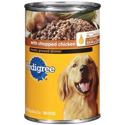 FINAL CLOSEOUT 4 FUR $8.00  Pedigree Meaty Ground Dinner with Chopped Chicken for Dog, 22 Ounce 12 Count (8/18) (A.C3)