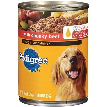 FINAL CLOSEOUT 4 FUR $8.00 Pedigree Meaty Ground Dinner With Chunky Beef Dog Food 22 Oz 12 Count (6/18) (B/DW)
